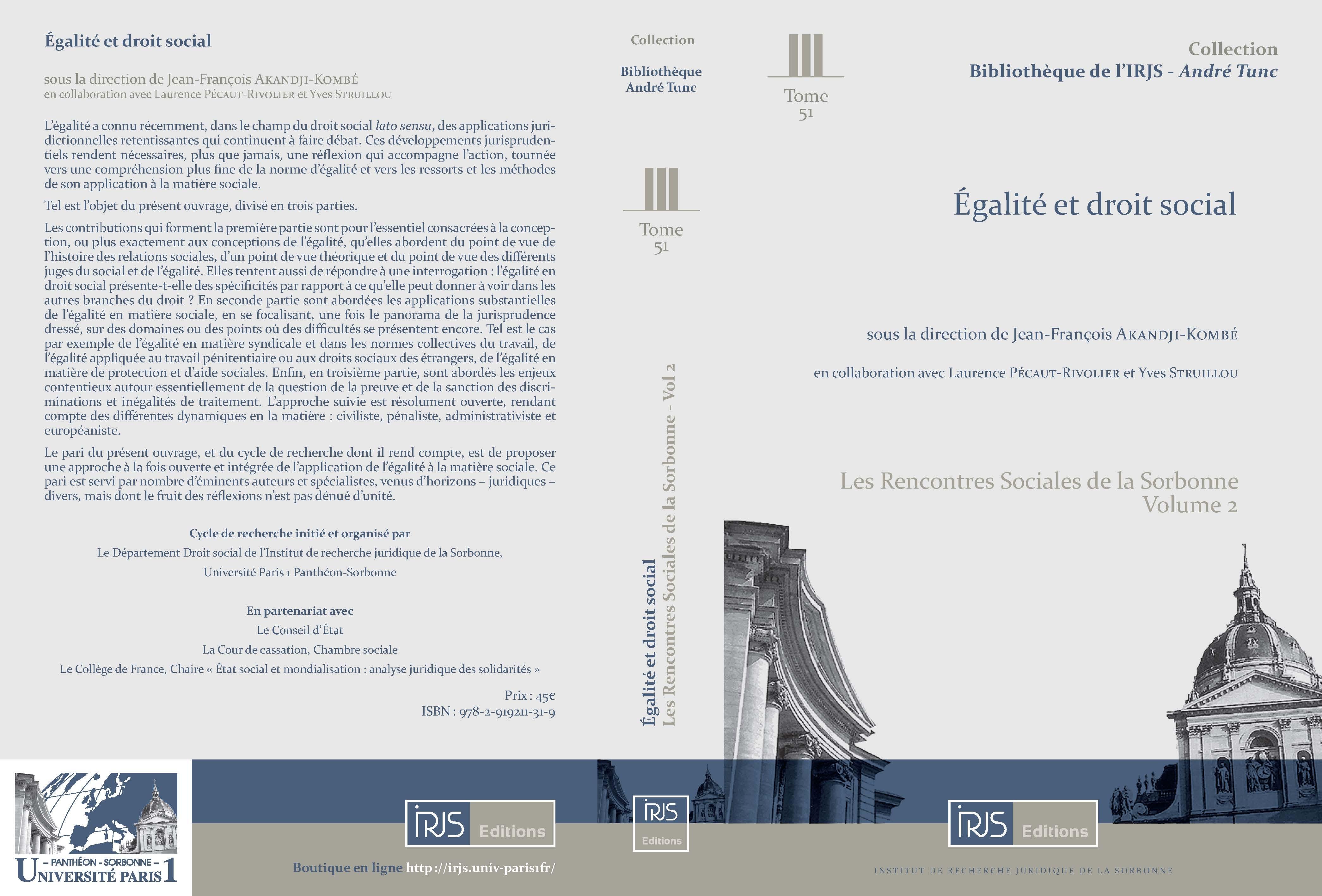 Égalité et droit social - pages de couverture (cliquer pour agrandir)