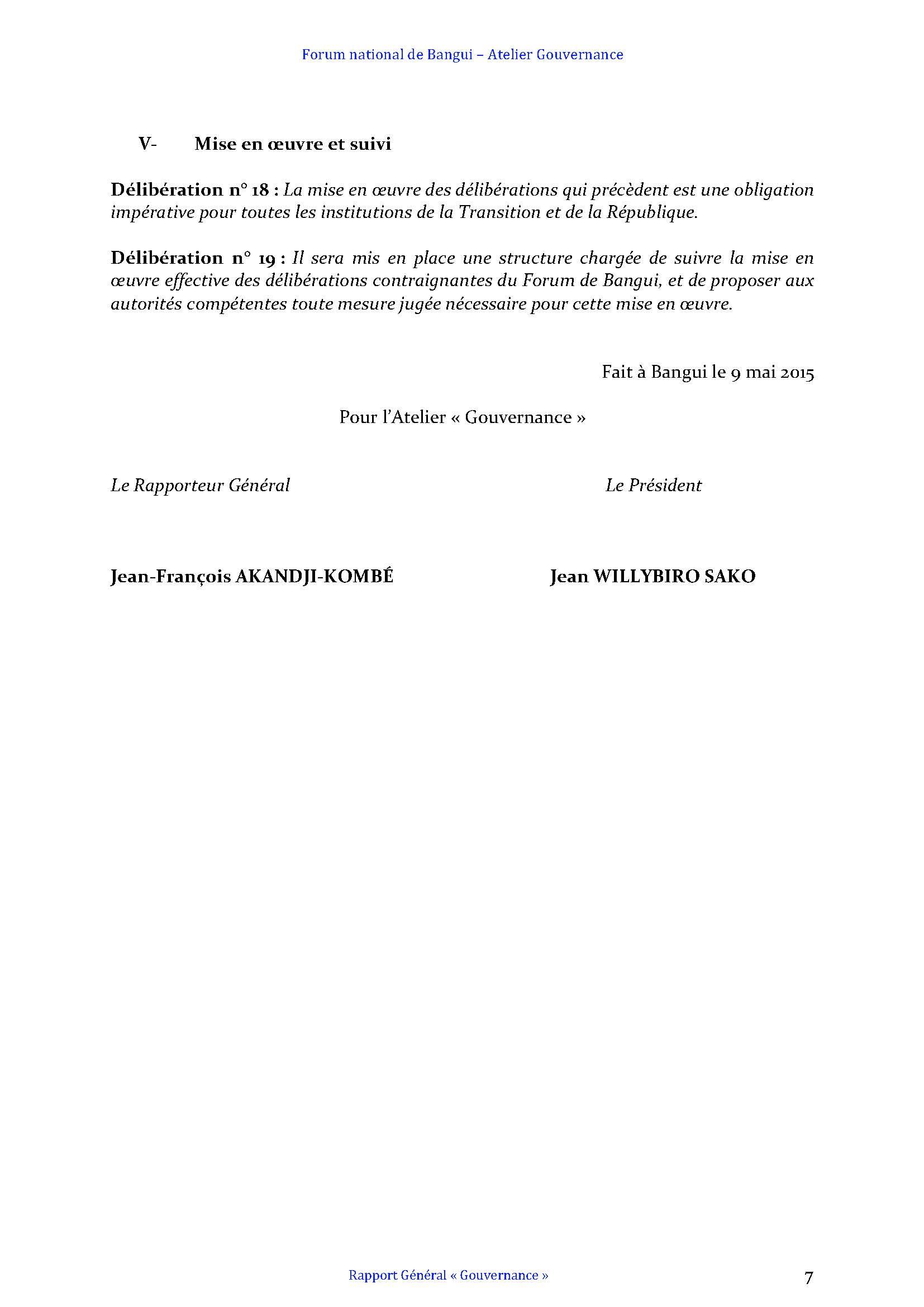 FORUM DE BANGUI- COMMISSION GOUVERNANCE - RAPPORT FINAL AMENDÉ APRÈS PLÉNIÈRE_Page_7